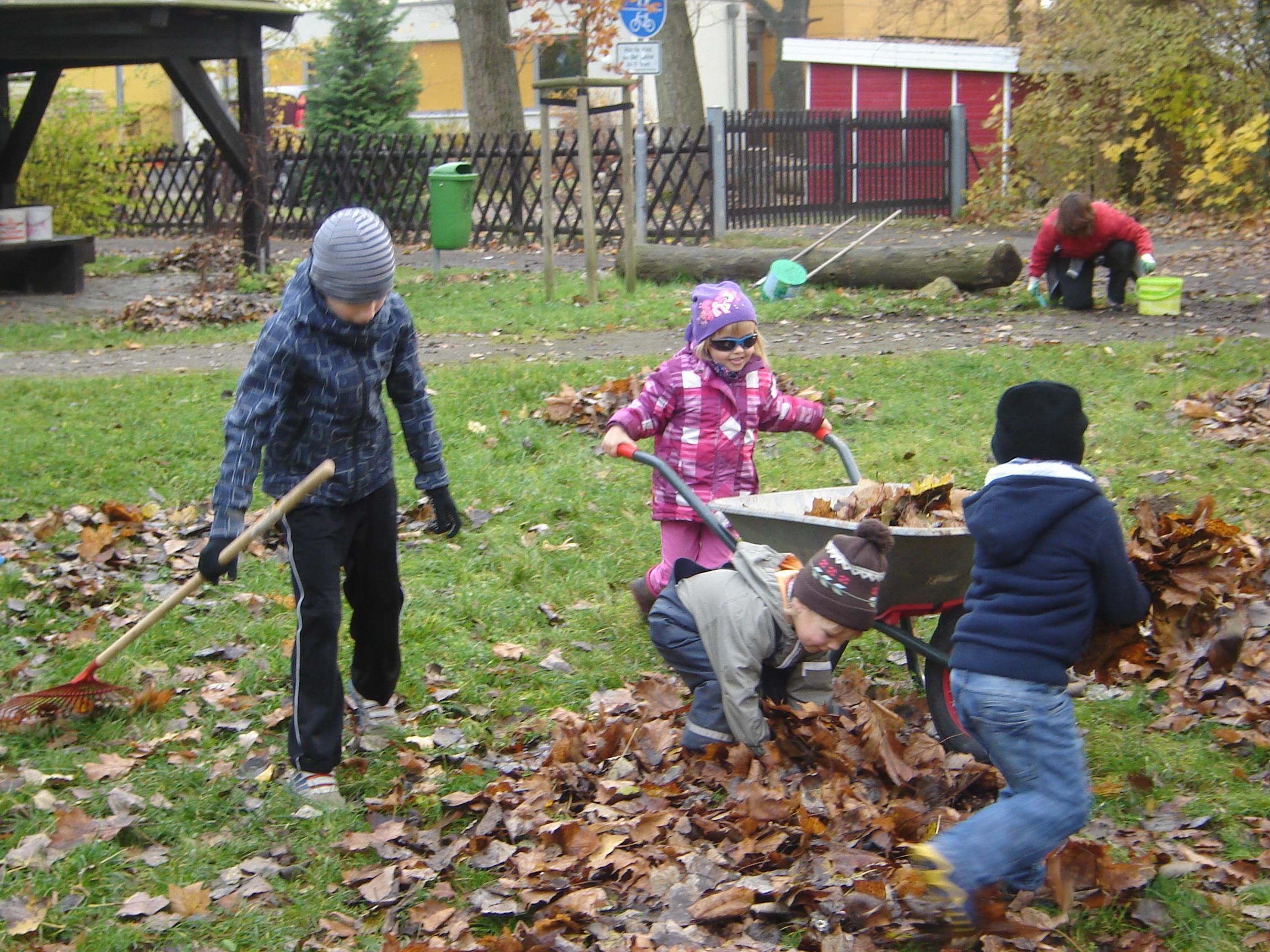 Kinder sammeln das Laub ein